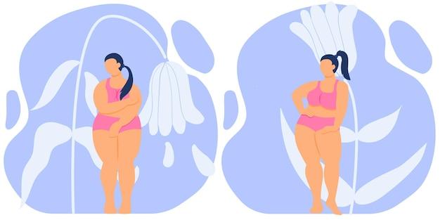 Gruba dziewczyna wstydzi się swojego ciała, kocha grubą kobietę z krągłą sylwetką w bieliźnie grafika wektorowa