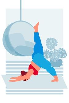 Gruba kobieta ćwiczy jogę asana joga w domu zdrowy styl życia i odżywianie sport i fitness
