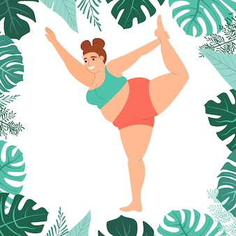 Gruba kobieta ćwiczy jogę selflove fitness i nadwaga gruba dziewczyna siedząca w pozie jogi