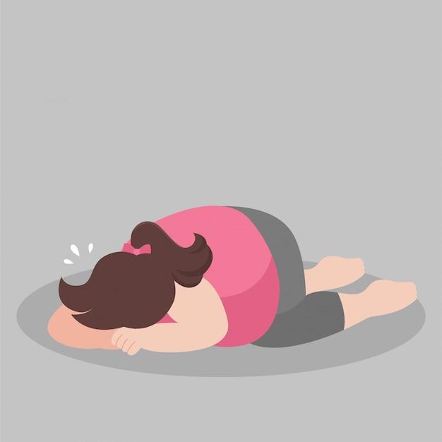 Gruba kobieta płacze