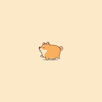 Gruba shiba inu pies spaceru ikona kreskówka