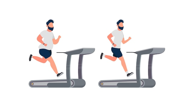 Grubas biega na bieżni. facet biega na symulatorze.