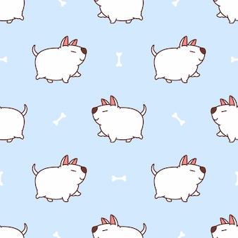 Grubas bull terrier pies spaceru kreskówka wzór