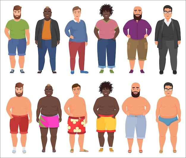 Grubas w zestawie ubrań na co dzień i lato. mężczyźni plus size.