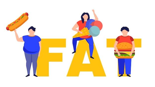 Grubi ludzie z niezdrowym jedzeniem osoby z nadwagą oraz niezdrowy i siedzący tryb życia
