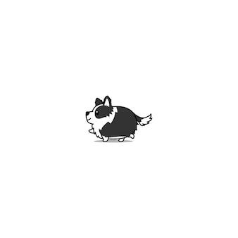 Gruby border collie pies chodzący kreskówka