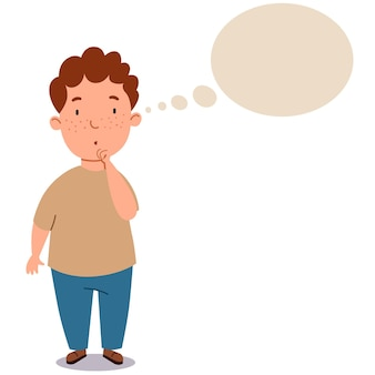 Gruby chłopak z kręconymi włosami w spodniach i podkoszulku. dziecko myśli o pomyśle. student myśli o tym. chmura tekstu. ilustracja wektorowa na na białym tle.