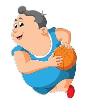 Gruby chłopiec drybluje piłkę do koszykówki ilustracji