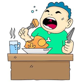 Gruby chłopiec korzystający z jego posiłku. ilustracja kreskówka śliczna naklejka