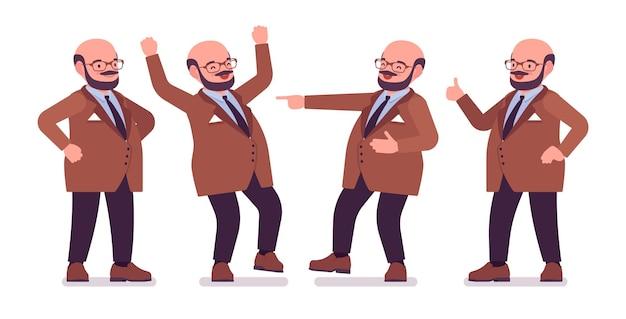 Gruby ciężki mężczyzna z brzucha pozytywnymi emocjami. nadwaga, tłusty kształt ciała. śmiały facet w średnim wieku, miły pracownik służby cywilnej. dużych mężczyzn moda plus size formalne nosić. ilustracja kreskówka wektor płaski