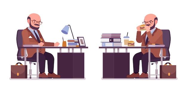Gruby, ciężki mężczyzna z brzuchem siedzący przy biurku