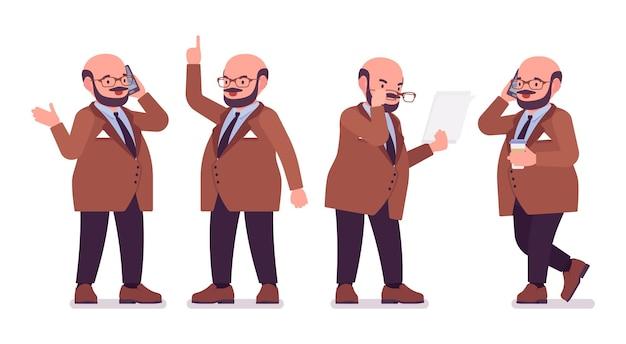 Gruby ciężki mężczyzna z brzuchem w pracy. nadwaga i tłusty kształt ciała. śmiały facet w średnim wieku, miły pracownik służby cywilnej. moda dla dużych mężczyzn, w dużych rozmiarach. ilustracja kreskówka wektor płaski