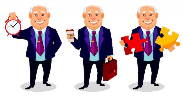 Gruby człowiek biznesu, zestaw trzech pozach