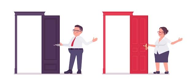 Gruby mężczyzna, kobieta urzędniczka stojąca przy otwartych drzwiach