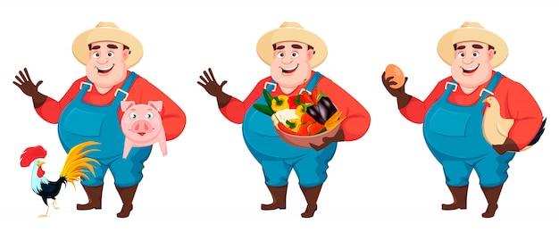 Gruby rolnik, agronom, zestaw trzech poz