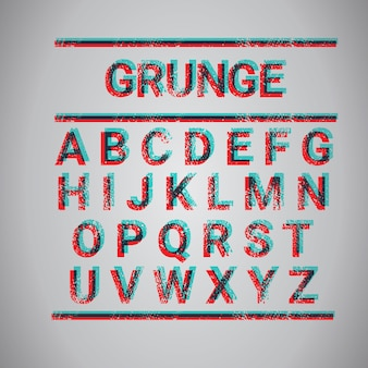 Grunge alfabet kapitałowych kolekcji tekstu zestaw czcionek