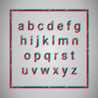 Grunge alfabet litery kolekcja tekst czcionki zestaw