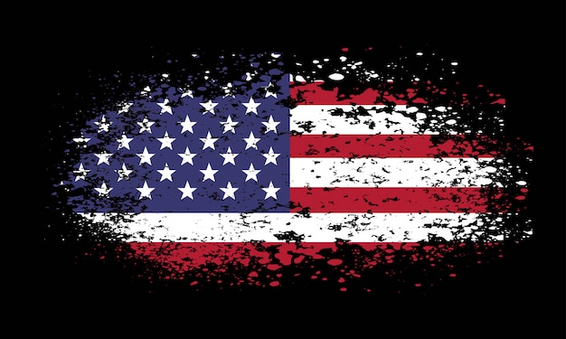 Grunge amerykańską flagę na czarnym tle