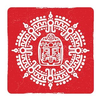 Grunge amerykański aztec, symbol kultury majów