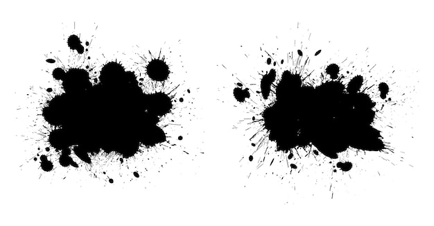 Grunge czarna farba plamy ilustracja