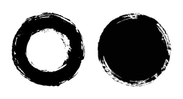 Grunge czarne okrągłe ramki