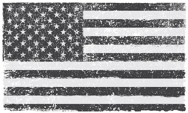 Grunge czarno-biała flaga amerykańska