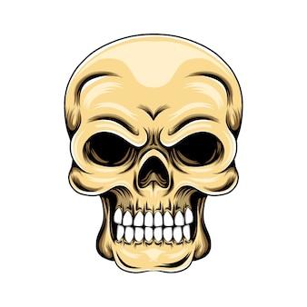 Grunge czaszki z białymi zębami i straconymi oczami z przodu głowy