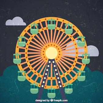 Grunge ferris wheel płaska