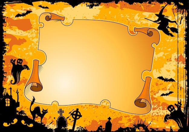 Grunge halloween ramki z rolki, bat, czarownica, duch, element projektu, ilustracji wektorowych