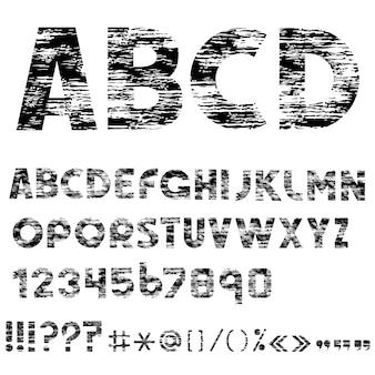 Grunge liter alfabetu, cyfr i znaków interpunkcyjnych