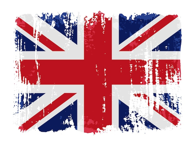 Grunge pociągnięcia pędzlem flaga brytyjska