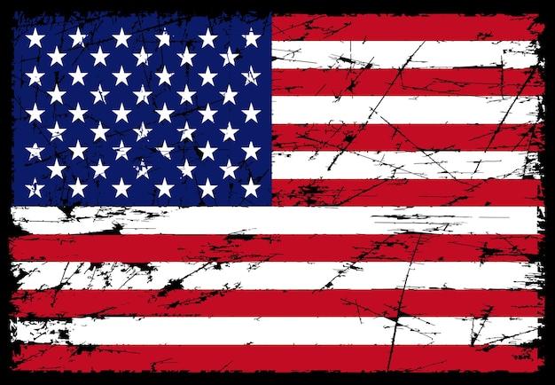 Grunge porysowany amerykańską flagę