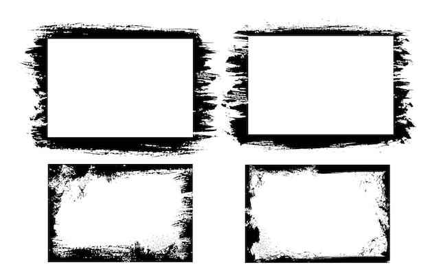 Grunge ramki do zdjęć i obramowania z krawędziami wektora trudnej sytuacji pociągnięć pędzlem czarnej farby. prostokątne obramowania ramki z szorstkimi teksturami, zadrapaniami, plamami i rozmazami, na białym tle