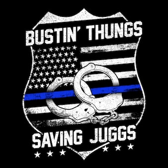 Grunge styl z amerykańską odznaką i mankietami