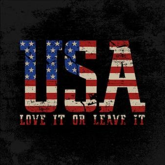 Grunge style tekst usa z american flag inside