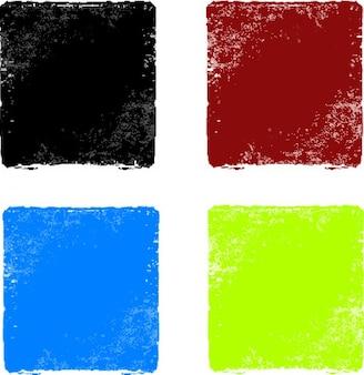 Grunge tła kwadratów zestaw kolorów