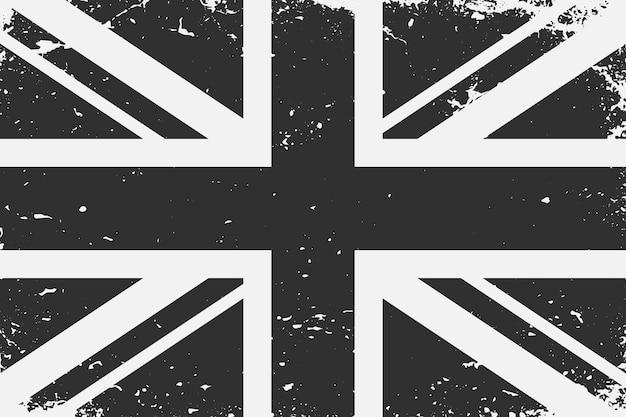 Grunge w stylu czarno-białej flagi królestwo uniteg