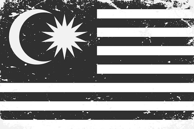 Grunge w stylu czarno-białej flagi malezji