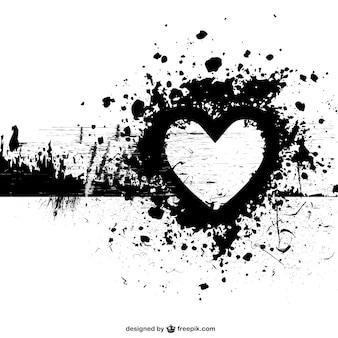 Grunge wektora tle kształcie serca