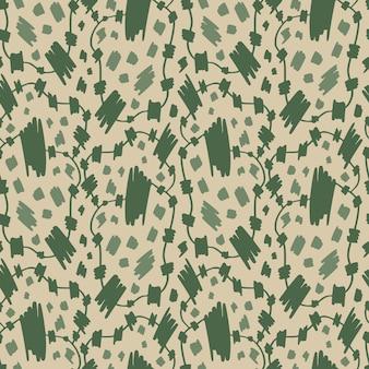 Grunge wzór w zielone pociągnięcia pędzlem dla wzorów tkanin lub papieru owiniętego. modny nadruk w kolorze khaki.