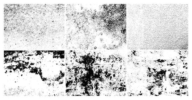 Grunge ziarniste brudne tekstury. zestaw sześciu abstrakcyjnych środowisk nakładek miejskich. ilustracja wektorowa