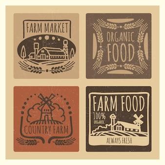 Grunge żywności ekologicznej gospodarstwa rynku vintage etykiety