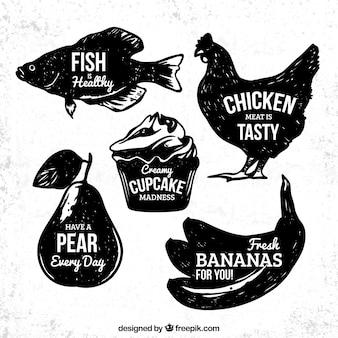 Grungy odznaki żywności