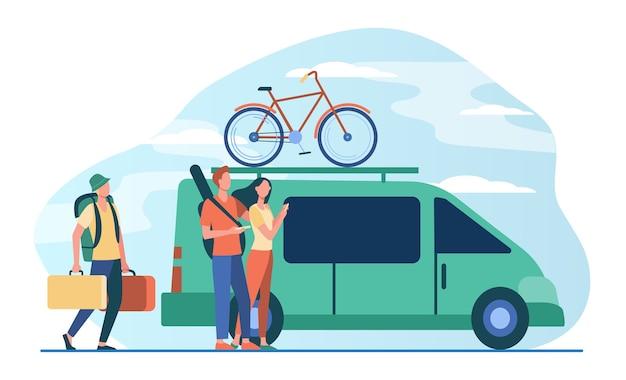 Grupa aktywnych turystów gromadząca się przy pojeździe. minivan z rowerem na górze ruchomej płaskiej ilustracji