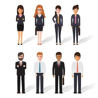 Grupa biznesmen i bizneswoman przy pracą