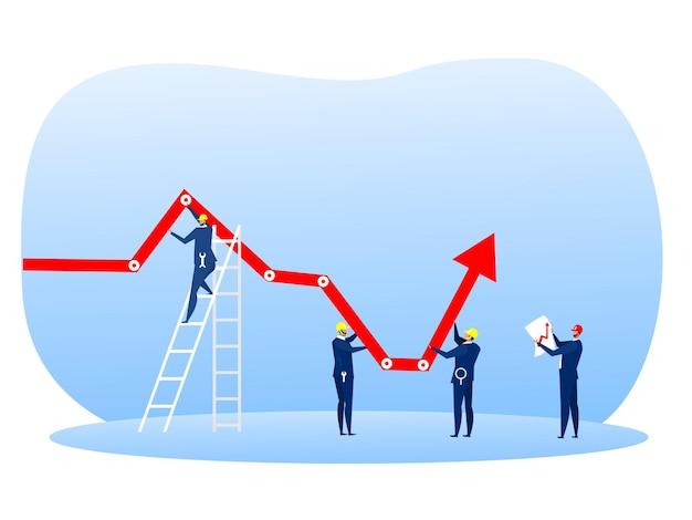 Grupa biznesmenów trzymająca zmniejszającą się strzałkę wykresu wykresu w górę z koncepcją klucza narzędziowego