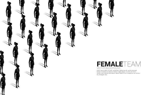 Grupa bizneswomanów stojących razem uporządkowany. koncepcja biznesowa dla kariery zawodowej z misją firmy i pracą zespołową.