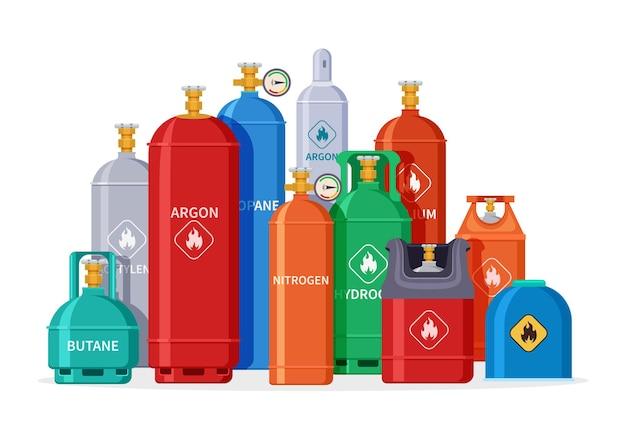 Grupa butli gazowych. zbiorniki, butle i kanistry z tlenem. sprzęt na białym tle przemysłu naftowego. ilustracja przechowywania ciekłego azotu. butla z gazem, sprężony zbiornik do zbierania