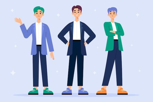 Grupa chłopców k-popowych w zespole