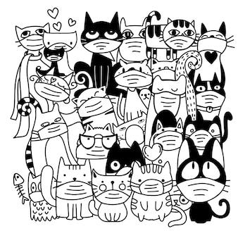 Grupa cute kotów noszących maski medyczne, aby zapobiec chorobie, grypie, wirusowi korony. ilustracja wirusa wuhan corona. covid-19 ilustracja zapalenia płuc.